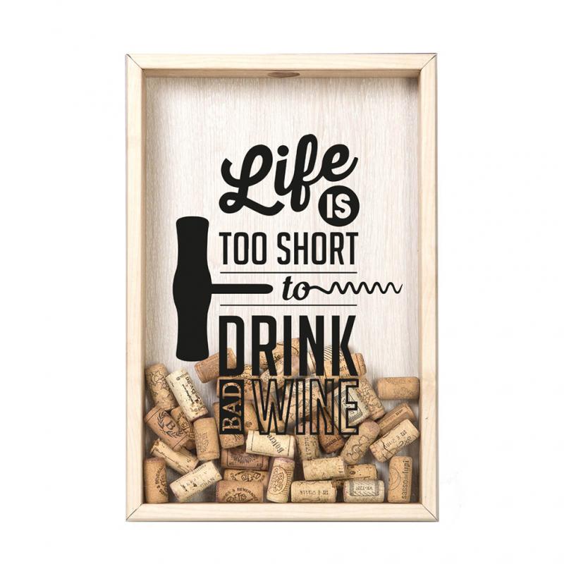 Копилка для винных пробок Life Is Too Short Дуб